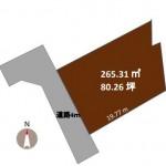 新潟市西区五十嵐2の町の土地の敷地図