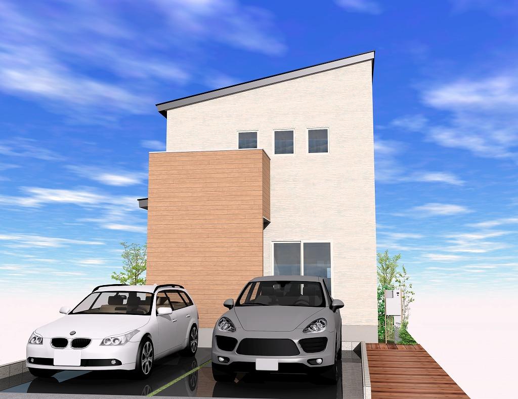 長岡市蓮潟の建物プラン例の外観パース(外観)