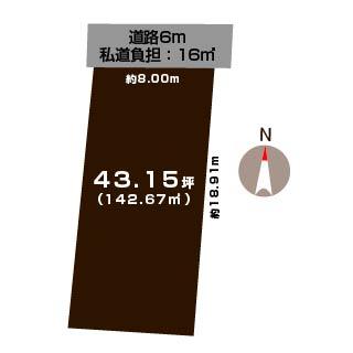新潟市西区五十嵐の土地の敷地図