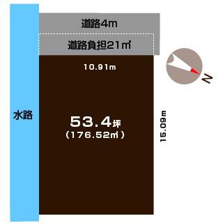 新潟市西区小新西の土地の敷地図