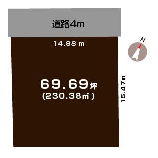 新潟市西区寺尾上の土地の敷地図