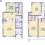 新潟市西区山田の新築住宅【1号棟】の間取り図