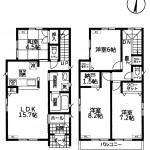 新潟市西区山田の新築住宅の間取り図