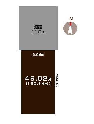 新潟市東区白銀の土地の敷地図