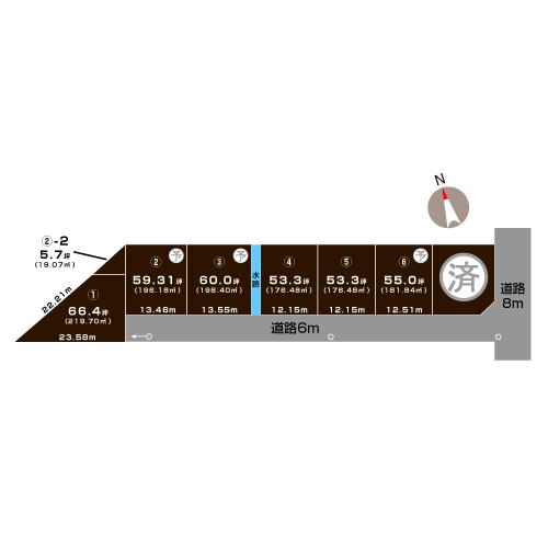 三条市西裏館の土地の敷地図