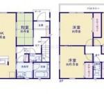 新潟市北区つくし野の新築住宅の間取り図