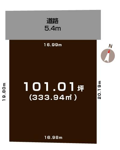 新潟市中央区関屋松波町の土地の敷地図