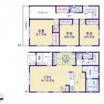 新潟市東区下木戸の新築住宅の間取り図