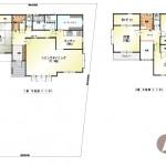 新潟市西区五十嵐2の町の中古住宅の間取り図