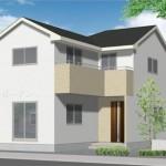 新潟市中央区鐙西の新築住宅の外観完成予定パース