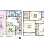 新潟市北区松浜東町の新築住宅の間取り図