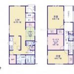 新潟市江南区横越川根の新築住宅の間取り図
