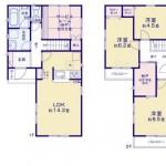 新潟市中央区鐙西の新築住宅の間取り図