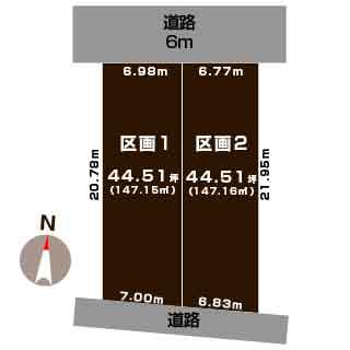 新潟市北区太夫浜新町の土地の敷地図