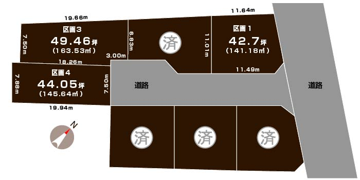 新潟市西区善久の土地・分譲地の敷地図
