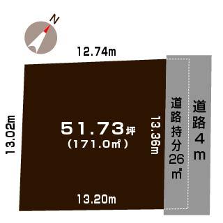新潟市西区寺尾西の土地の敷地図