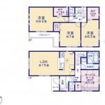 新潟市東区東明1丁目の新築住宅の間取り図