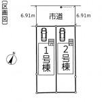 新潟市江南区亀田中島の新築住宅の配置図