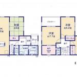 新潟市西区山田の新築住宅2号棟の間取り図