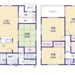 新潟市東区山木戸の新築住宅の間取り図