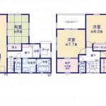 新潟市西区山田の新築住宅1号棟の間取り図