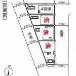 新潟市東区物見山の新築住宅の配置図
