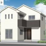 新発田市御幸町の新築住宅2号棟の外観パース