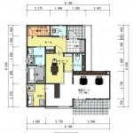 新潟市東区東中野山土地の建物プラン例1の1階間取り図