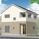 新潟市北区松浜新町の新築住宅1号棟の外観完成予定パース