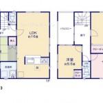 新潟市北区松浜新町の新築住宅1号棟の間取り図