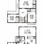 新発田市御幸町の新築住宅1号棟の間取り図