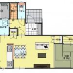 新潟市東区東中野山土地の建物プラン例2の1階間取り図