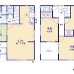 新潟市西区寺尾上の新築住宅の間取り図