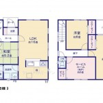 新潟市北区松浜新町の新築住宅2号棟の間取り図