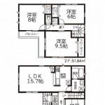 新発田市御幸町の新築住宅2号棟の間取り図