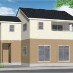 新潟市西区山田の新築住宅2号棟の外観完成予定パース
