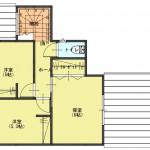 新潟市東区東中野山土地の建物プラン例2の2階間取り図