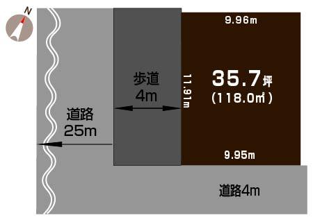 新潟市東区東中野山の土地の敷地図