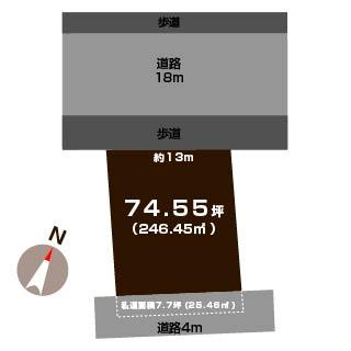 新潟市東区中山の土地の敷地図