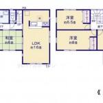 新潟市江南区袋津の新築住宅の間取り図