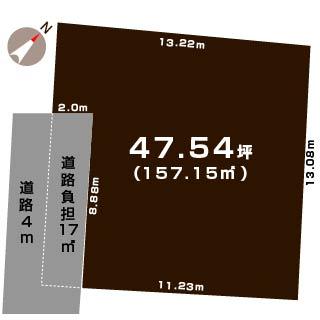 中央区田中町の土地の敷地図
