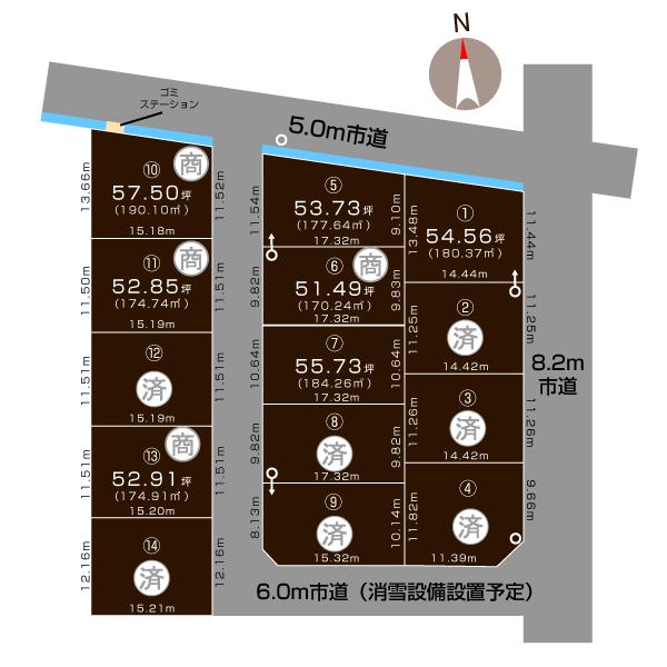 三条市西本成寺の土地の敷地図