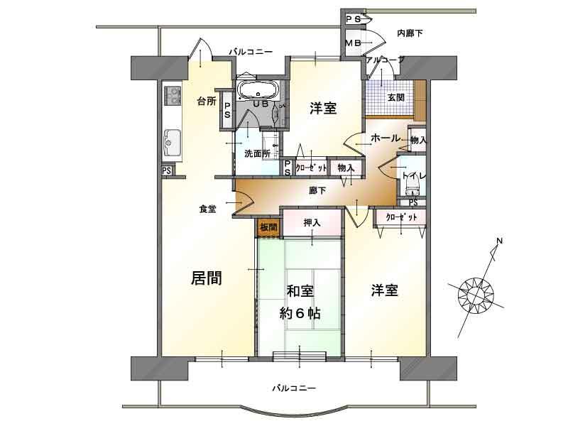 新潟市東区中島の中古マンションの間取図