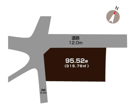 三条市月岡の土地の敷地図(敷地図)