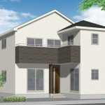 新潟市中央区女池西の新築住宅2号棟の外観完成予定パース