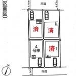 新潟市西区寺尾上の新築住宅の土地の配置図