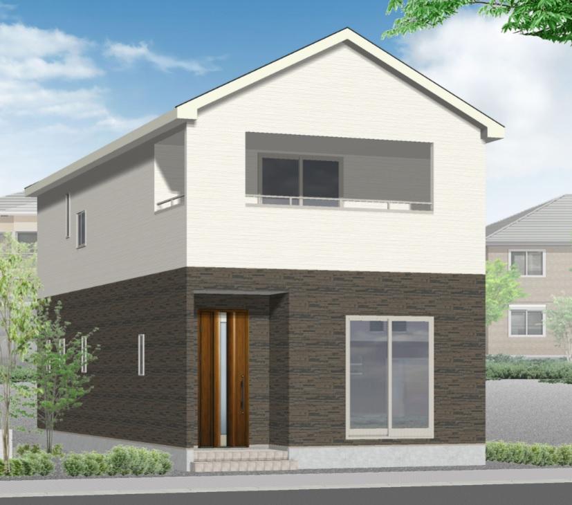 新潟市東区東明の新築住宅の1号棟外観完成予定パース
