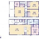 新潟市東区東明の新築住宅の2号棟間取り図