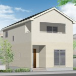 新潟市東区東明の新築住宅の2号棟外観完成予定パース