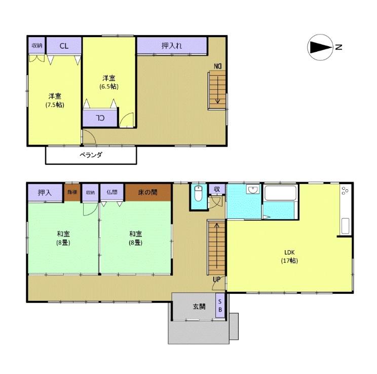 三条市月岡の中古住宅の間取図